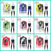 Wholesale Scott Cycling Jersey Sets Autumn Winter Thermal fleece And None Fleece Road Cycling Wear High Quality Red Green XS XL Bicycle Skinsuit