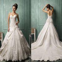 Cheap 2015 Amelia Sposa A Line Wedding Dresses Vestido De Noiva Sweetheart Embroidery Beaded Lace Up Satin Lace Bridal Gowns Chapel Train