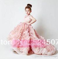 Girl flower appliques - 2015 Cute pink ruffles wedding birthday flower girls dresses sweep train custom made applique girls pageant gowns BO3897