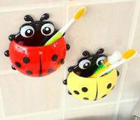 Wholesale 2016 new Cute Ladybug Cartoon Sucker Toothbrush Holder suction hooks Household Items toothbrush rack bathroom set
