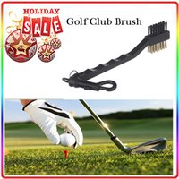 Wholesale Dual Bristles Golf Club Brush Cleaner Ball Way Cleaning Clip Plastic Groove A quality