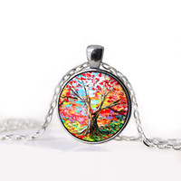 acrylic resin paint - 2015 NEW Tree of Life Necklace Pendant Jewelry Vintage oil painting Silver Family Christmas Style Charm Jewellery Gift
