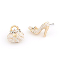 asymmetrical shoes - fashion lovely personality enamel crystal high heeled shoes bags asymmetrical stud earring pair gold women