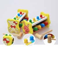 Wholesale Wooden Percussion Toy Pounding Bench Flying Man Game Gophers Knocking Toy for Kids Children Random Pattern