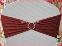 Wholesale Burgundy Single Layer Spandex Lycra Expand Band Cover With One Row Round Diamond Buckle Pin For Wedding Party Decorations