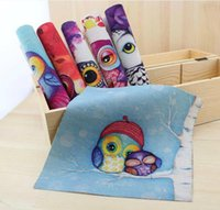 Wholesale 6 Assorted Designs Hand Cute Owl Digital Print Fabric Cotton Linen Thick base fabric cmx20cm Manual dyeing cloth