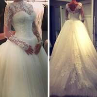 Wholesale 2015 Winter Ball Gown Wedding Dresses O Neck Long Sleeves Appliques Lace Beaded Tulle Floor Length Wedding Bridal Gowns with Zipper Back