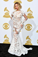 Wholesale Hot Sale Beyonce In Lace Applique Michael Costello Grammy Awards Red Carpet Celebrity Dresses Long Sleeve Evening Gown Backless Prom Dress