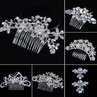 Wholesale Bridal Wedding Pearl Beauty Crystal Rhinestone Hair Comb Clip Headpiece Hair Jewelry Adult Solid Headwear