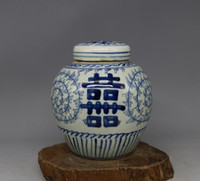 antique tea canister - Late Qing Dynasty blue and white hi words antique antiques antique porcelain tea caddy canister to do the old hand painted by hand