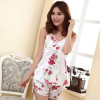 Wholesale 2015 Sexy Lady Sleepwear Women Pajamas Print Floral Camis Shirt Women Sleeveless Casual Tops T Shirt High Quality