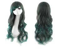 Wholesale High temperature gradient and black silk green mixed color long hair wig wig lady Cosplay anime female stage