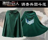 Wholesale Fashion Shingeki No Kyojin Cloak Cape Coat Clothes Halloween Cosplay Costume Anime Attack On Titan Green EKG