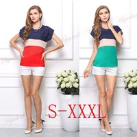 Wholesale New Summer Fashion Womens long T shirt Chiffon Short Sleeve Casual Tops Large size tri color Stitching Blouse