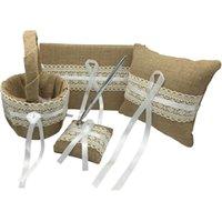 gift basket supplies - 4Pcs set Vintage Hesian Burlap Wedding Guest Book Pen Set Ring Pillow Flower Basket Bridal Decoration Supplies With Gift Box