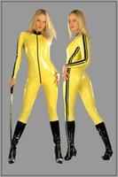 achat en gros de xs catsuit jaune-Personnaliser Haute Qualité Latex Rubber Girl's Catsuit Sexy Fétiche Jumpsuit latex Fétiche Gear jaune catsuit LBH-106
