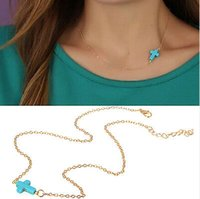 gold cross necklaces - Chic Jewerly Gift Women Lady Stylish Casual Pretty Gold Tone Sideways Blue Resin Cross Necklace New Hot Sale JN06218
