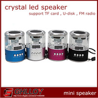 Wholesale Circle crystal mobile phone small audio mini speaker tf card usb flash drive fm radio digital led screen