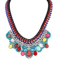 Wholesale Luxury Handmade Vintage Statement Necklace Multilayer Color Water Drop Diamond Necklace Lady Girls Jewelery New Design H299