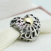 925 plata esterlina 14K del encanto del corazón de la vendimia oro verdadero ajuste del grano de estilo europeo pulseras de la joyería de Pandora Collares