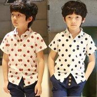 Wholesale new Summer boys shirts boys polo polka dot short sleeve turn down collar cotton shirt boy