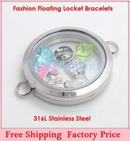 Wholesale 2014 New Fashion DIY mm Plain Silver Big O Circle Magnetic L Stainless Steel Living Glass Floating Locket Bracelets B38