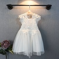 Wholesale new Korean Kids Clothes spring summer girls princess party white sleeveless cotton lace flowers tutu gauze dress LL