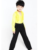 Wholesale Boys Latin Dance Costume Suit Top Pants V neck Long Sleeves Design Stage Modern Dancewear tlm001