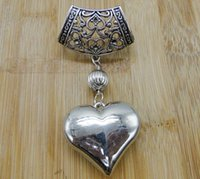 Wholesale New Fashion Jewelry Charm Antique Silver Alloy Scarf Heart Pendant DIY Metal Jewelry cm S3390
