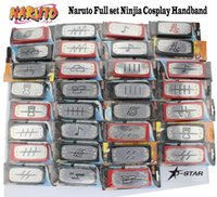 Wholesale Free Ship Naruto Anime Full Set Konoha Kakashi Akatsuki Ninja Logo Headband Tenia Cosplay Props full kind to choose