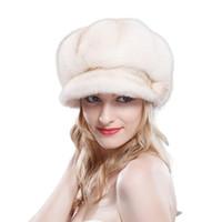 Topshop Mode européenne Russain style hiver de luxe Véritable fourrure de visière chapeau de baseball et chapeaux en plein air Femmes artificiel mink fourrure baseball chapeau