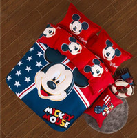 100% Cotton mickey mouse bedding - Unique Mickey Mouse Minnie Cotton Kids Bedding Sets Full Queen King Size Bedclothes Duvet Quilt Cover Sheet For Kids Bed Spreads Spring