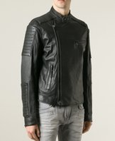 Wholesale Balmain Zipper Black Leather Biker Jacket Slilm Fit New Men s Size M L XL XXL XXXL
