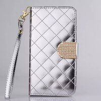 Cheap Diamond bling Sheepskin PU Leather Case Flip Cover Holder Wallet Credit Card Slot for iPhone 6 Plus 5 5S 4S S6 edge S5 S4 S3 Note 4 3