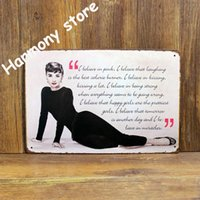 Wholesale Audrey Hepburn Tin sign Art wall decoration House Cafe Bar Vintage Metal signs CM