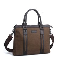 Wholesale Men s business briefcase bag canvas bag Handbags men messenger bags men travel bags leather briefcase bolsas