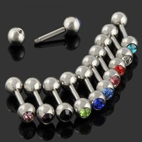 Wholesale 10pc Mixed Ball Tongue Lip Bars Nose Ring Barbell Body Piercing Stainless Steel NA479
