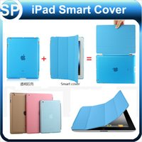 plastic magnetic - 3 Folding Front Stand Smart PU Magnetic Cover Back Transparent Plastic Cover for iPad Air Mini Retina Auto Sleep Wake Function