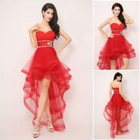 Wholesale Charming A Line Sweetheart Red Tulle Beading Hi Lo Ruffles Real Image Lace up Homecoming Dresses Cocktail Party Dresses In Stock AJ014