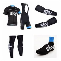 Anti Pilling cycle - 2015 New Arrival Sky Cycling Jeresey Set Short Sleeve Bib Padded Trousers Team Sky Cycling Clothes Black Tops Pants Road Cycling Suit