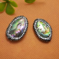Wholesale Druzy Bulgy Ellipse Paua Abalone Shell Rhinestone Oval Connector Beads Jewelry Making
