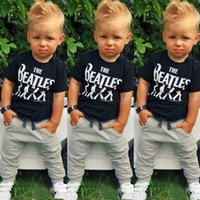 baby black shirt - 2015 Baby Boy Kids Short Sleeve T shirt Tops Pants Outfit Clothing Set Suit