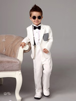 kids rings - Four Pieces Luxurious white Ring Bearer Suits trend Boys Tuxedo With Black Bow Tie kids formal dress boys suits fashiion kids suits