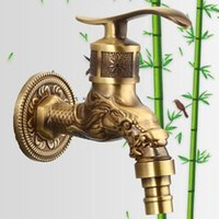 antique wall mount faucet - Antique bathroom faucet golden faucet full bronze dragon