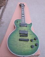 Wholesale ovation guitar new arrive high quality mahogony body rosewood fretboard green tiger flametop electric guitar