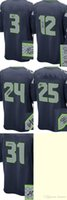 baseball autographs - 2016 Newest Men s Seattle Wilson Blue Game Autographed Jerseys Football Jerseys