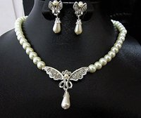 beaded butterfly earrings - Rhodium Silver Plated Clear Crystal Rhinestone Bridal Necklace and Earrings Butterfly Jewelry Set With Cream Pearls