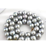 baroque tahitian pearl necklace - CHARMING mm tahitian baroque gray pearl necklace k inch