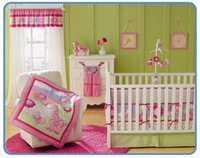 Cheap Wholesale 2016 7Pcs Baby bedding set 3D animal pattern Crib bedding set 100% cotton pink deer Cot bedding set Baby Quilt Bed around