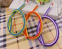 Wholesale 500pcs Creative Stationery Magic Soft Pencil Flexible Plastic Pencil Easily Bend Pencil Twist Rubber Candy Colour